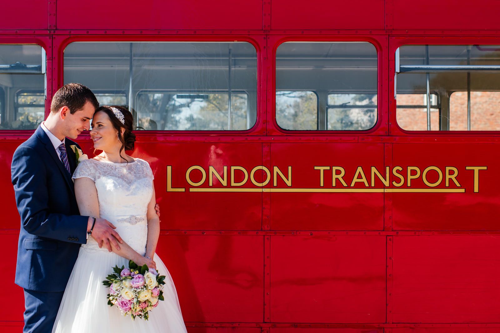 Bride and groom routemaster bus