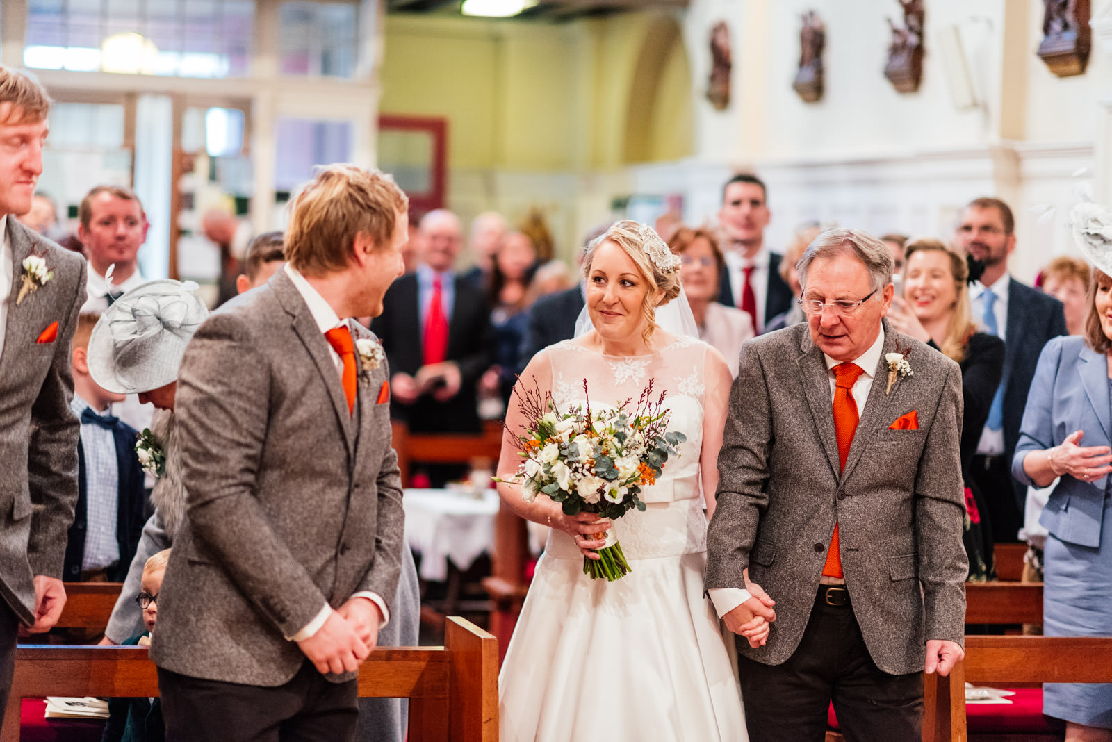Bride sees groom for first time in church