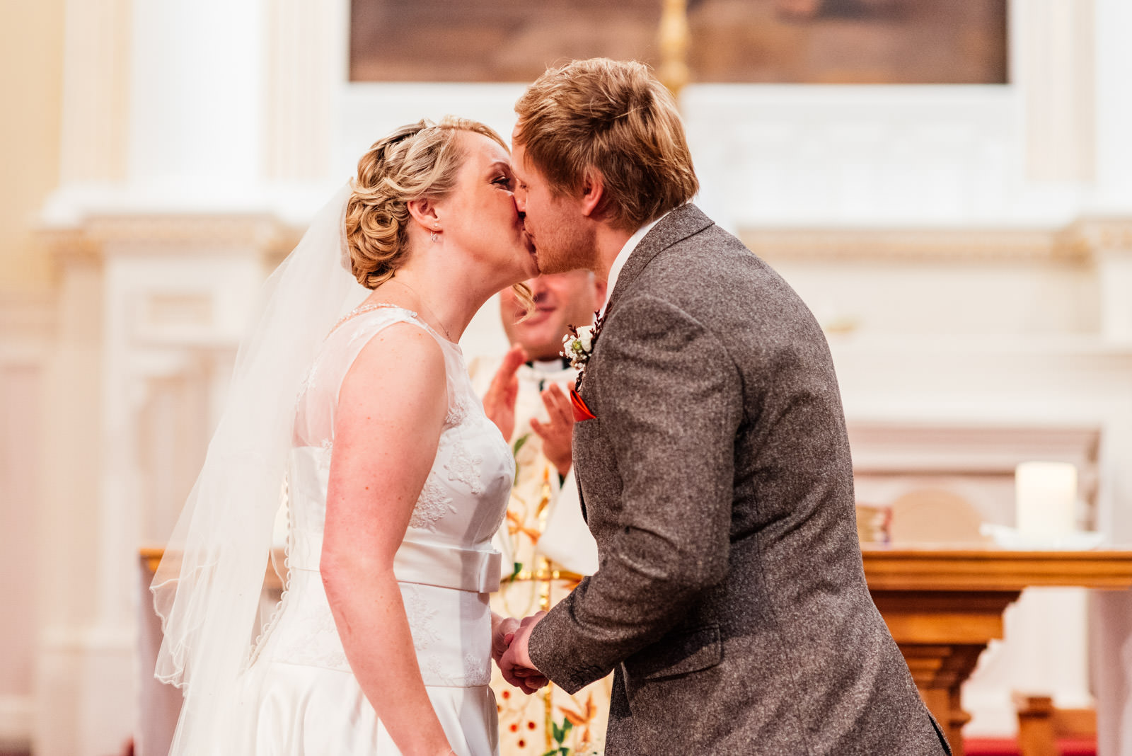 Wedding day first kiss