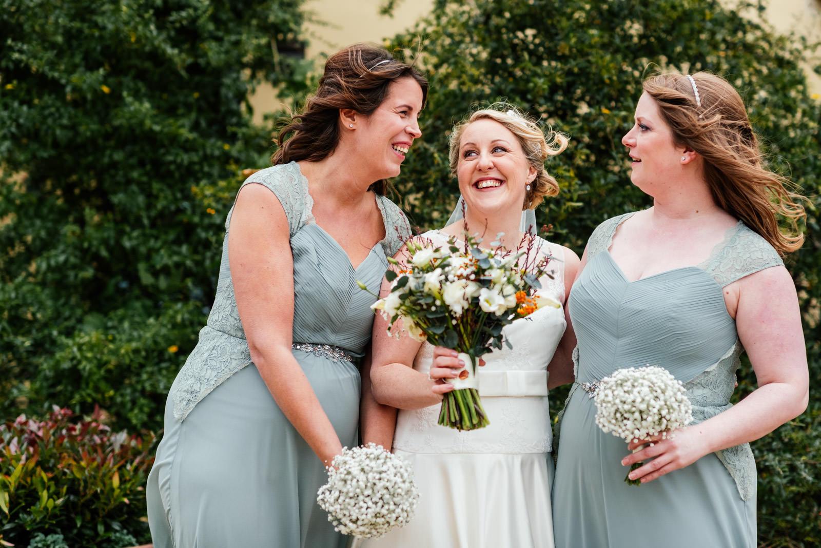 Bride and bridesmaids group photo