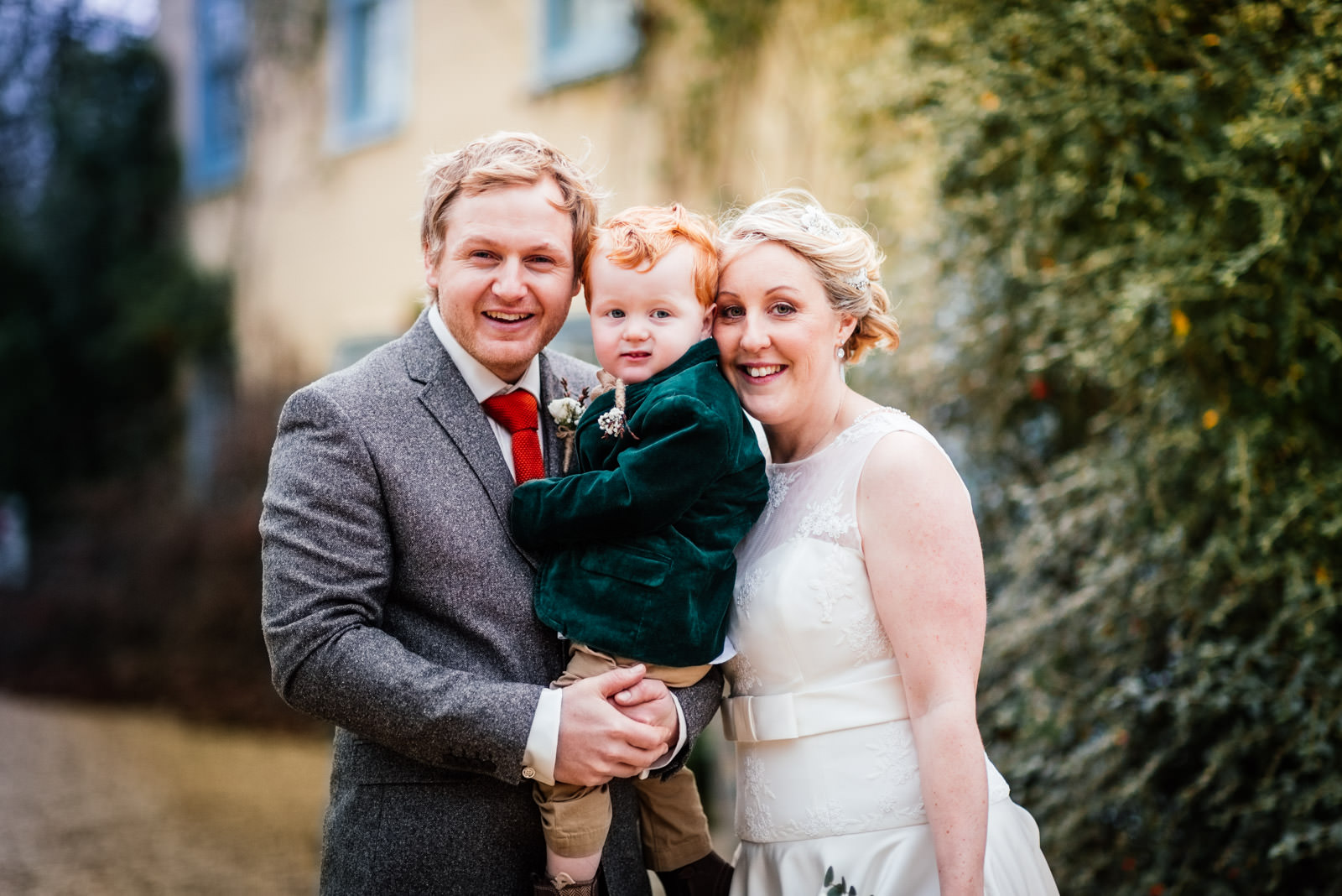 Bride and Groom and son portrait