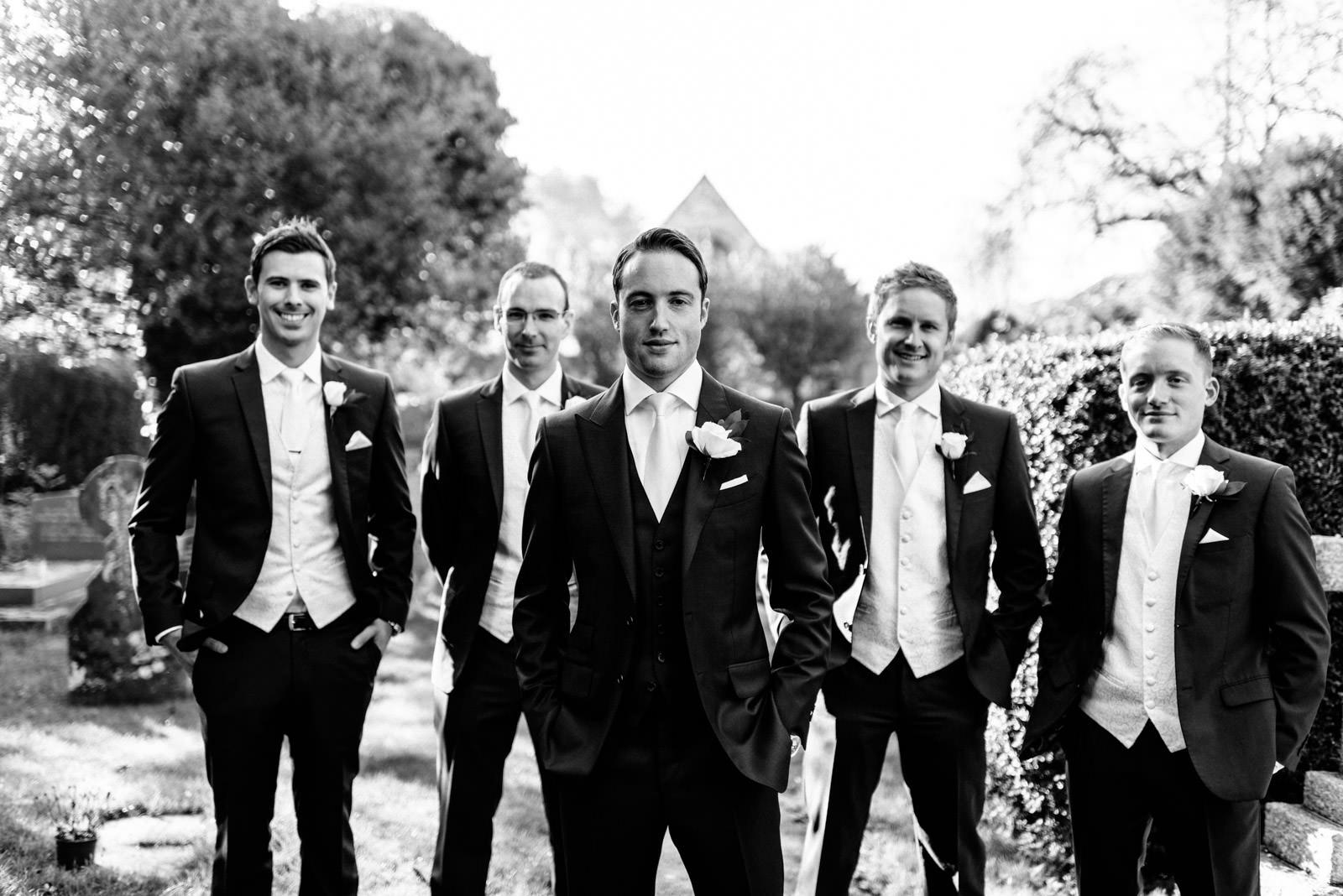 Groom Best Man and Groomsman formal group photo
