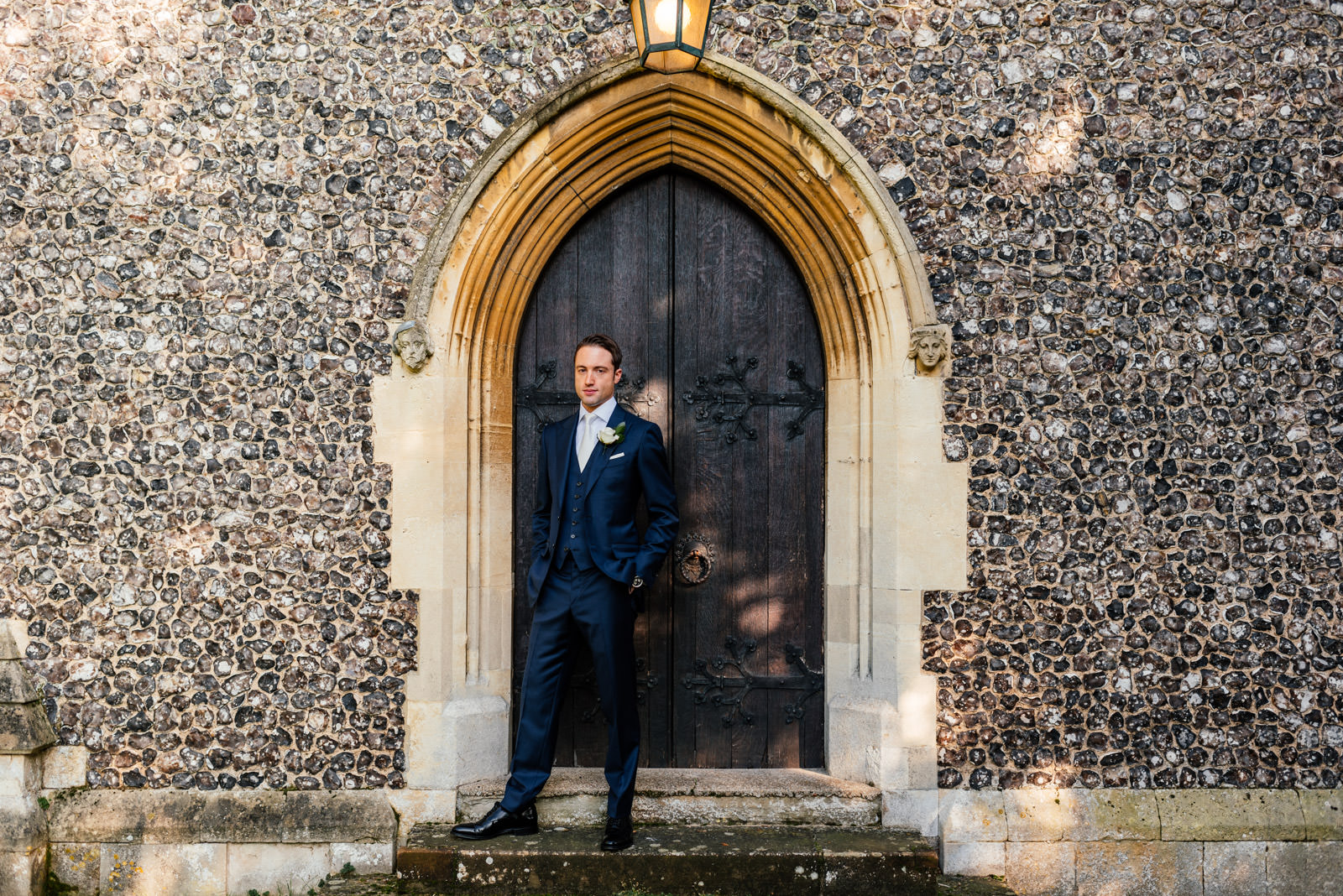 Groom portrait at Marlow Church