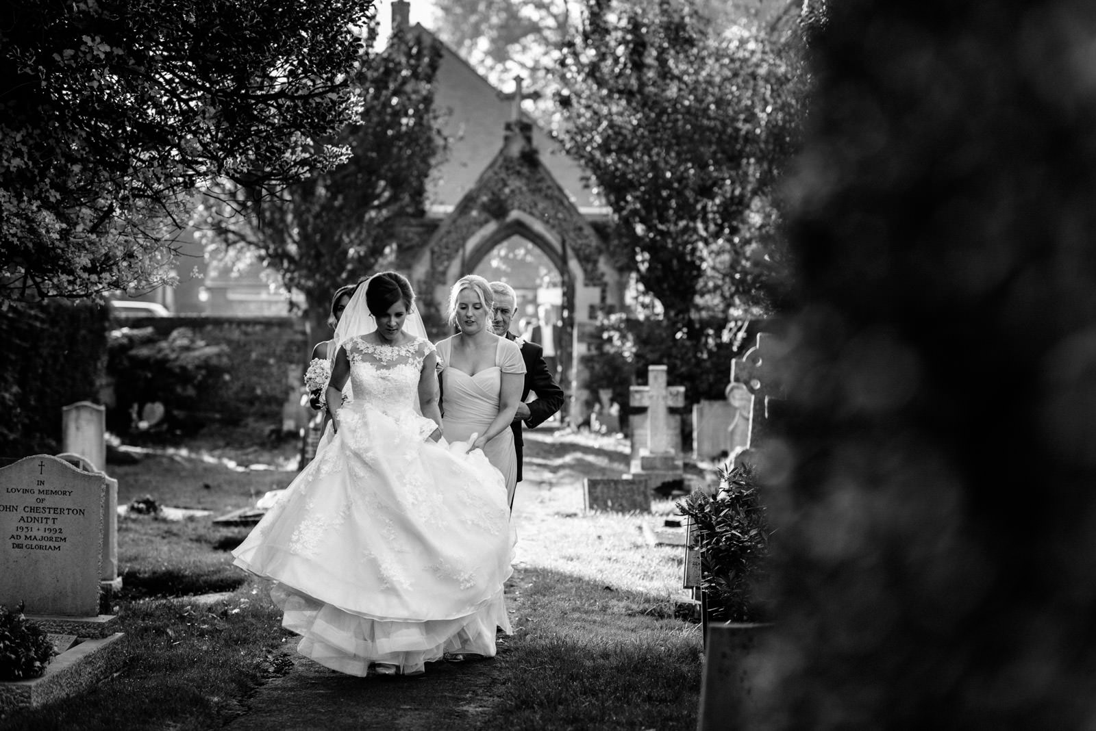 Bride arriving at Marlow Church