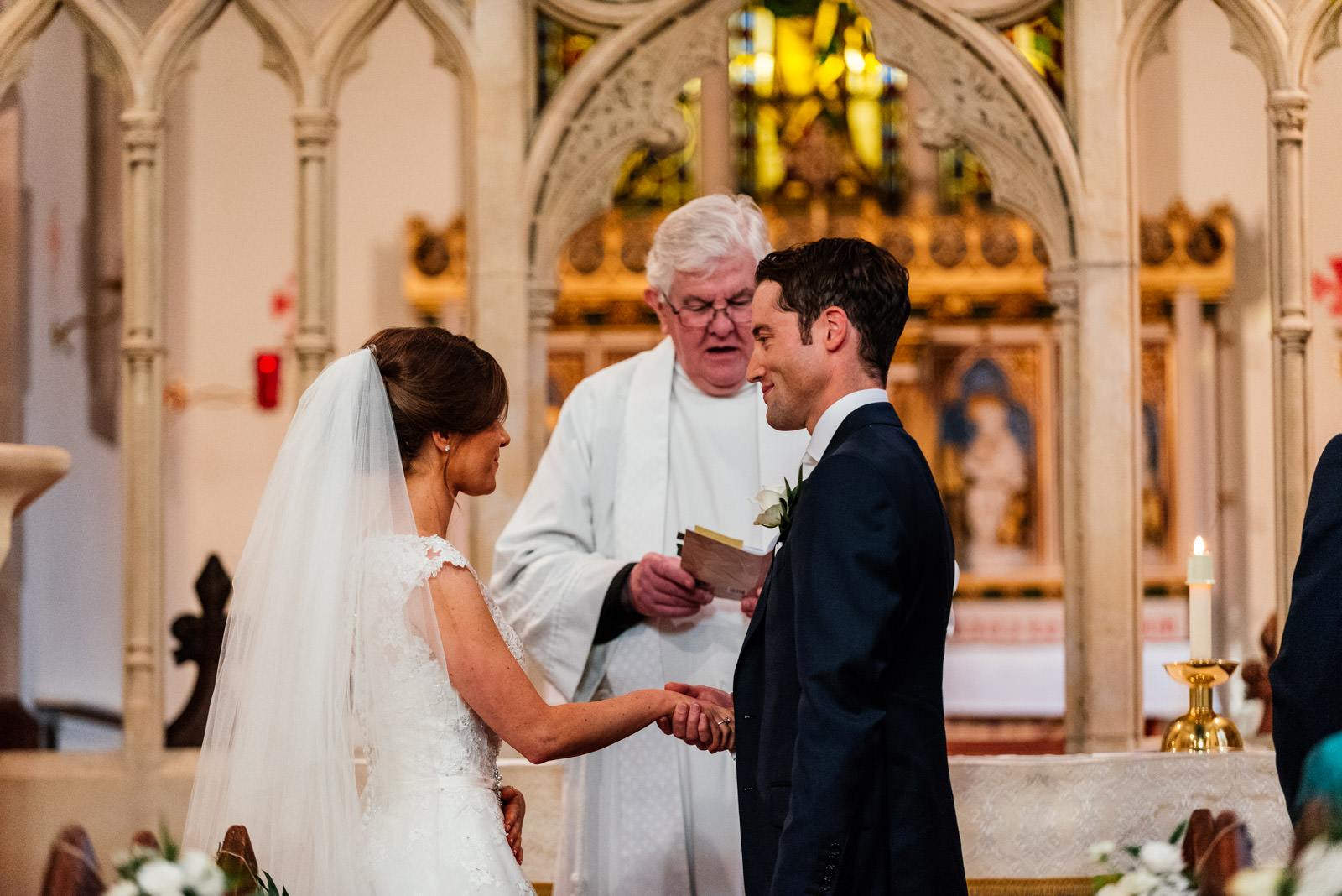 Church ceremony exchanging vows