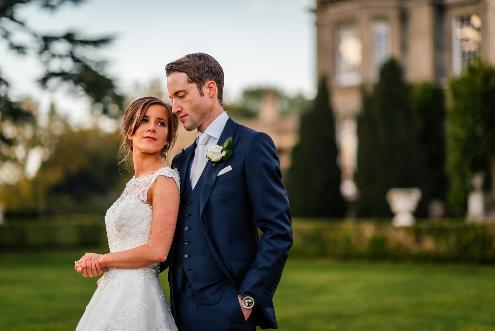 Bride and groom portrait at Hedsor House, Buckinghamshire