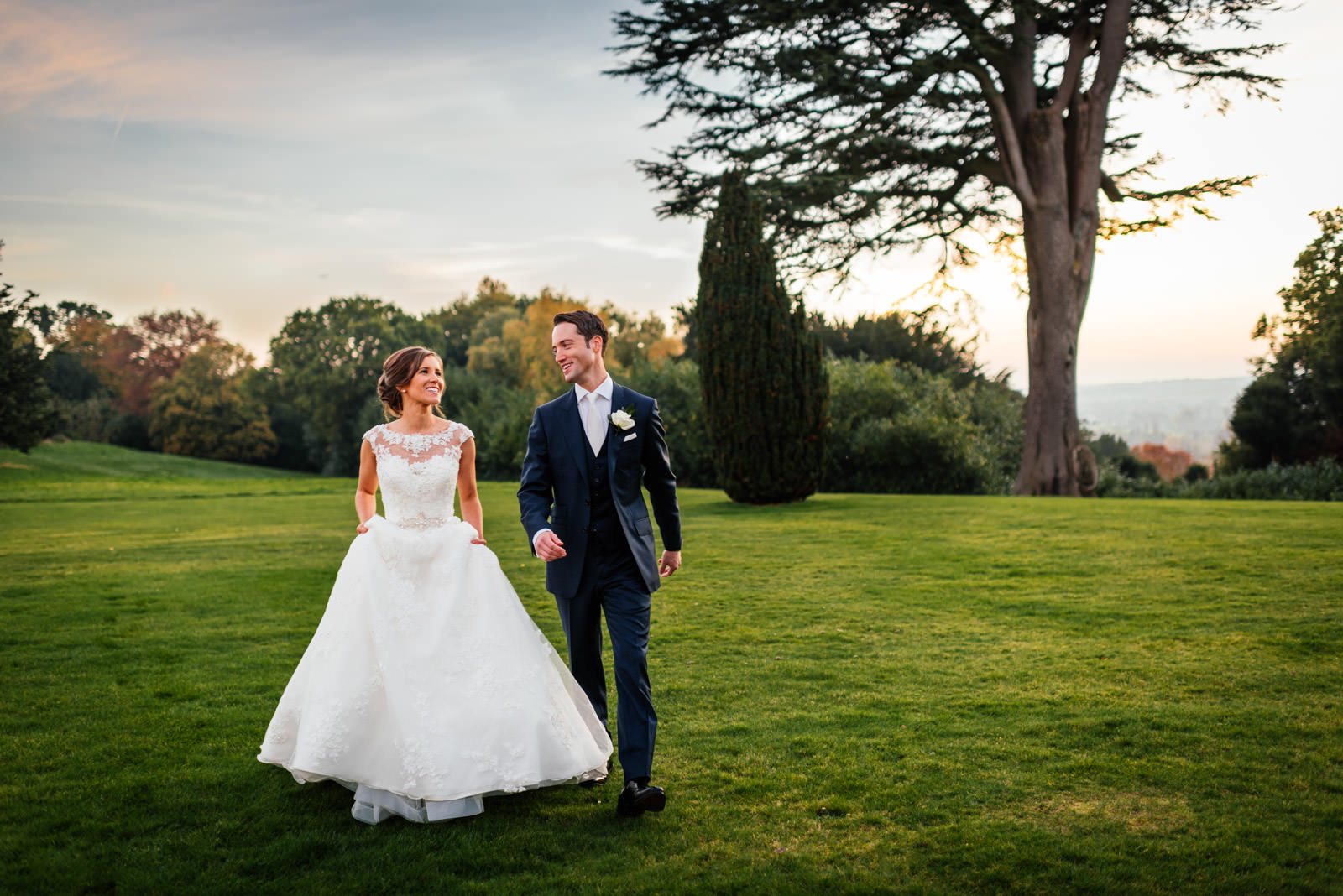 Relaxed bride and groom portrait at Hedsor House