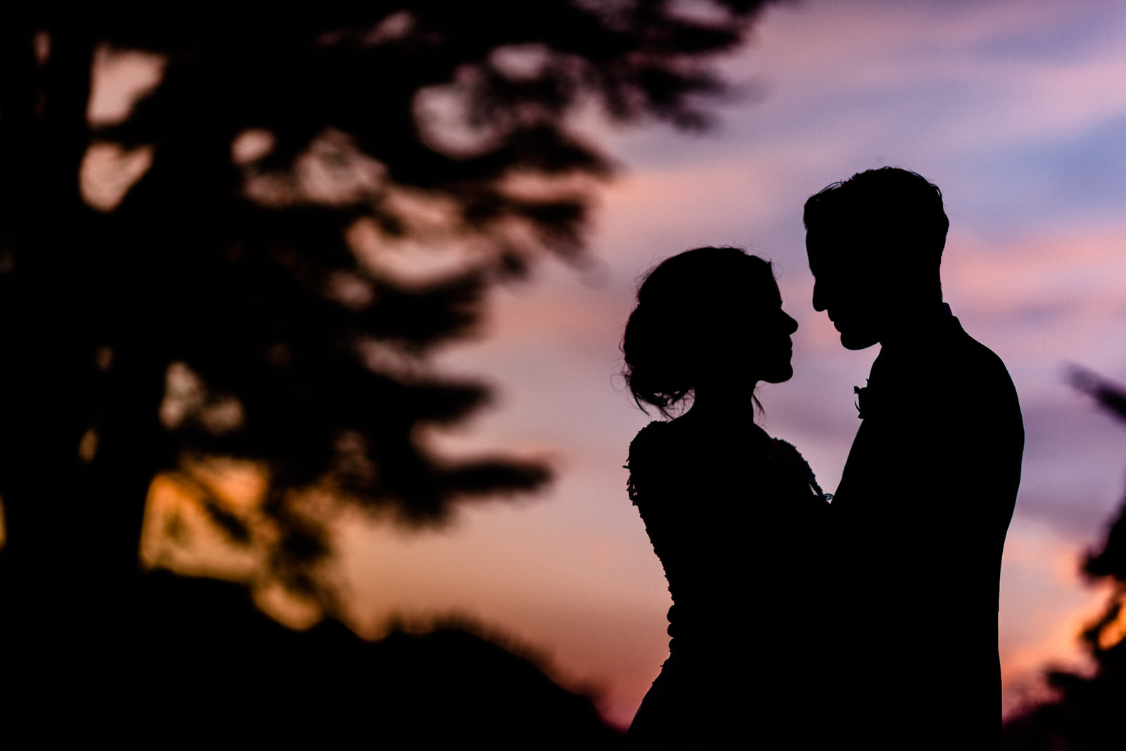 Bride & Groom silhouette portrait at Hedsor House