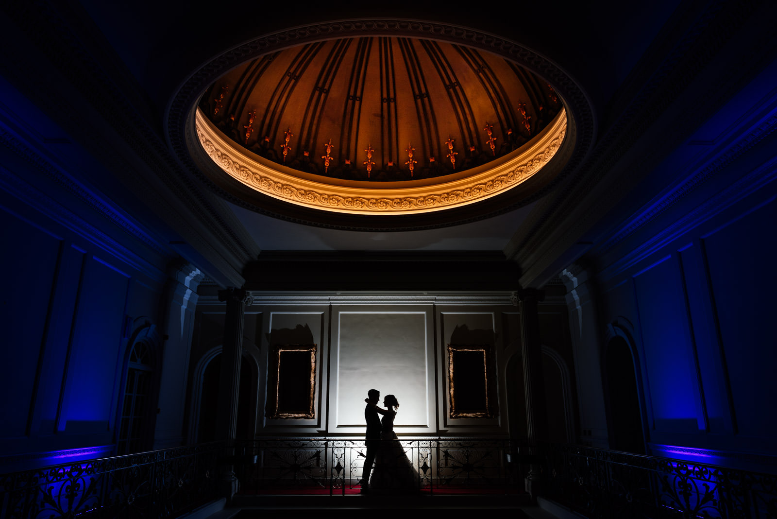 Night time bride & groom portrait at Hedsor House Wedding.