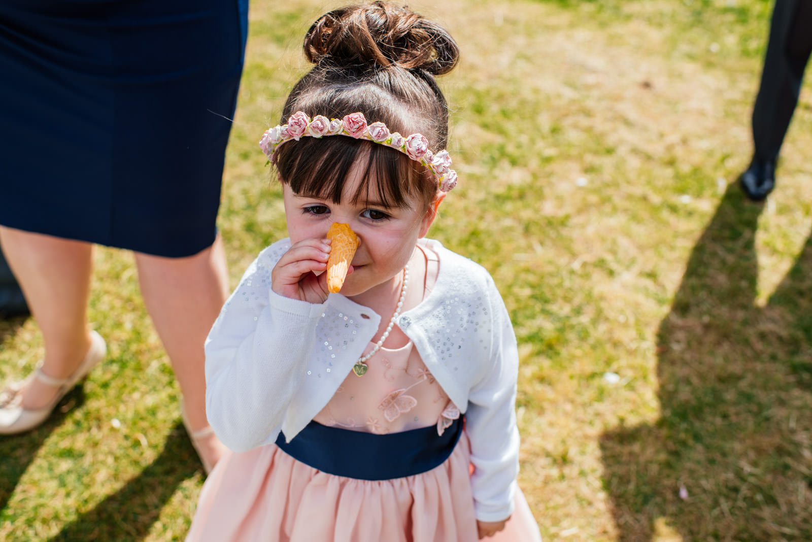 Flower girl with ice cream cone nose