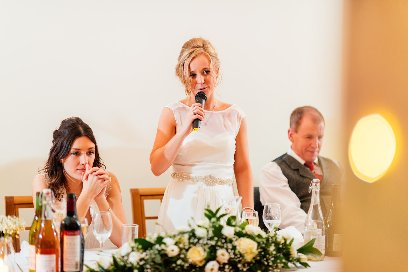 Bride giving a speech at wedding