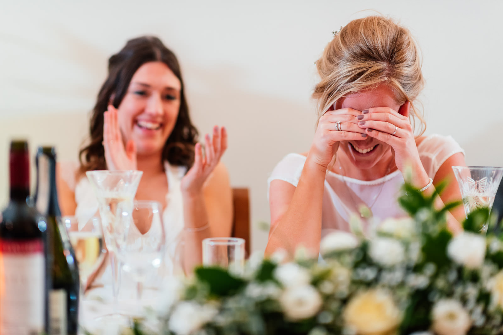 Bride embarrassed during speeches