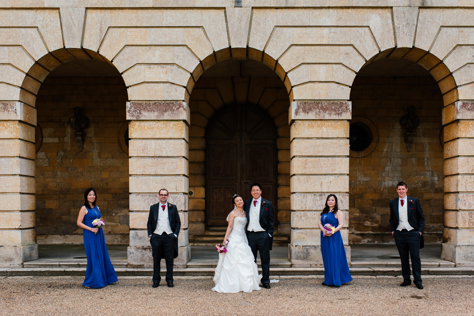 relaxed bridal party group photo