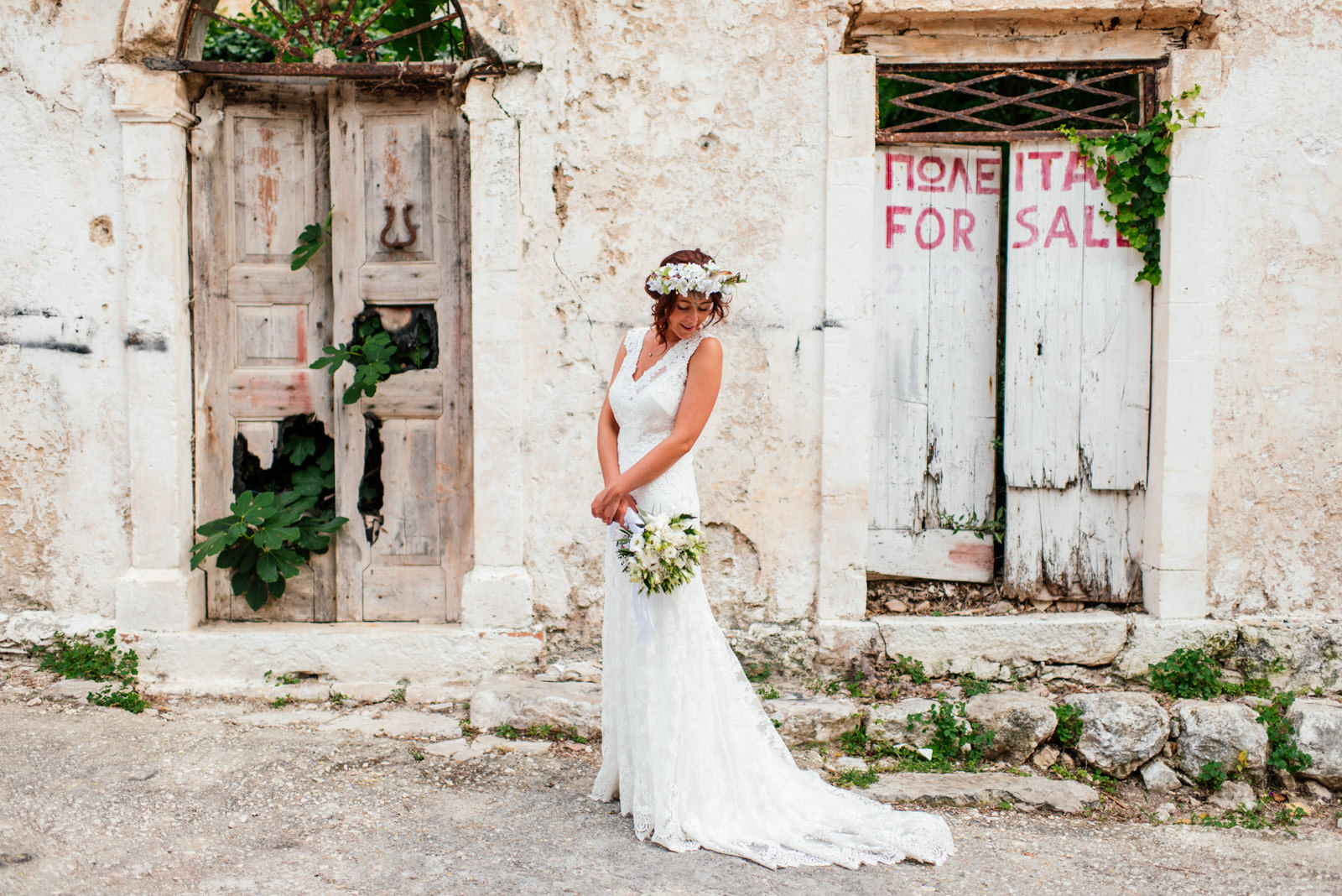 Bride portrait in Assos village Kefalonia
