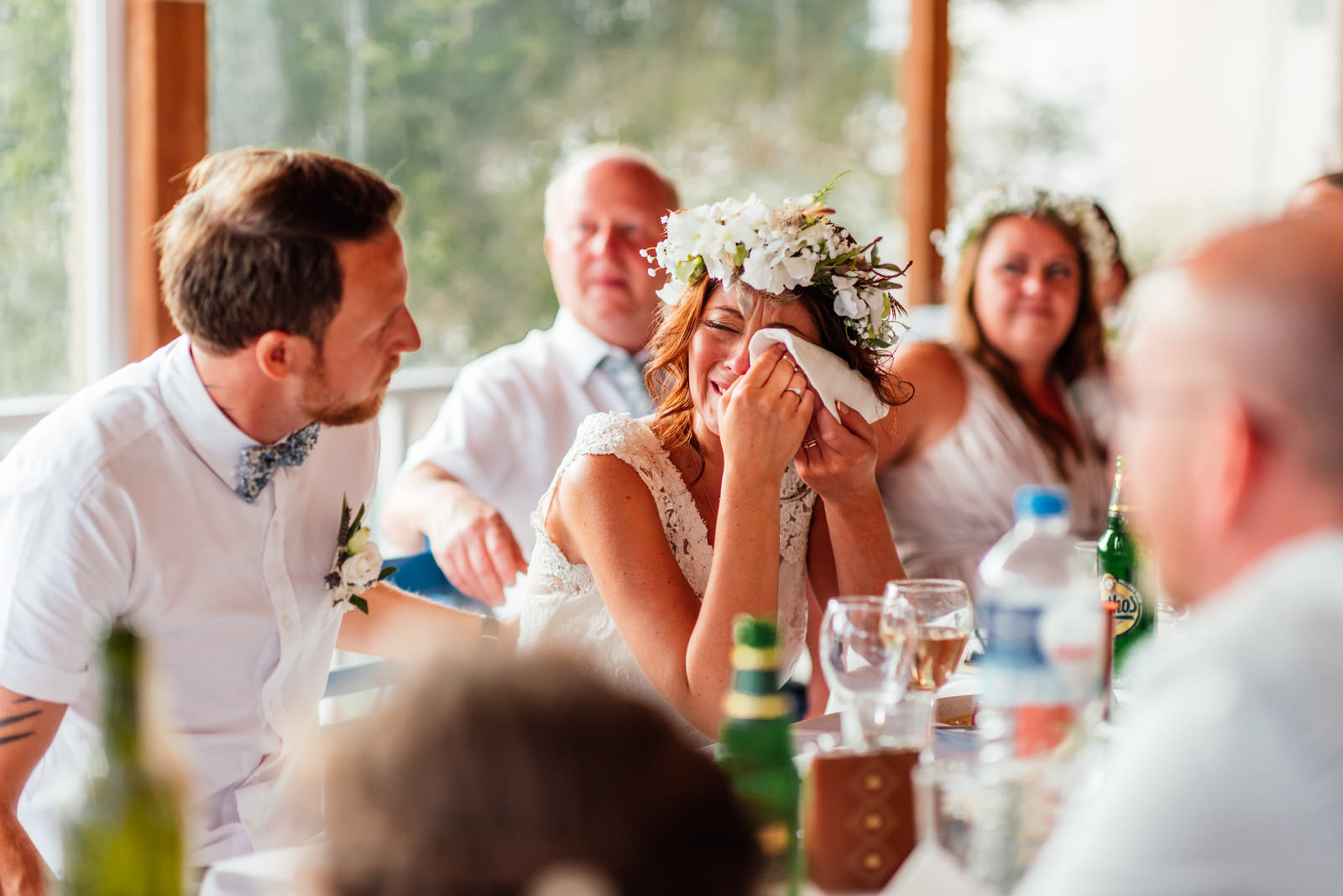 bride crying during the wedding speeches