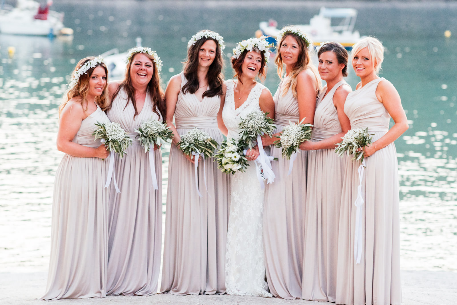 bridesmaids at assos village wedding