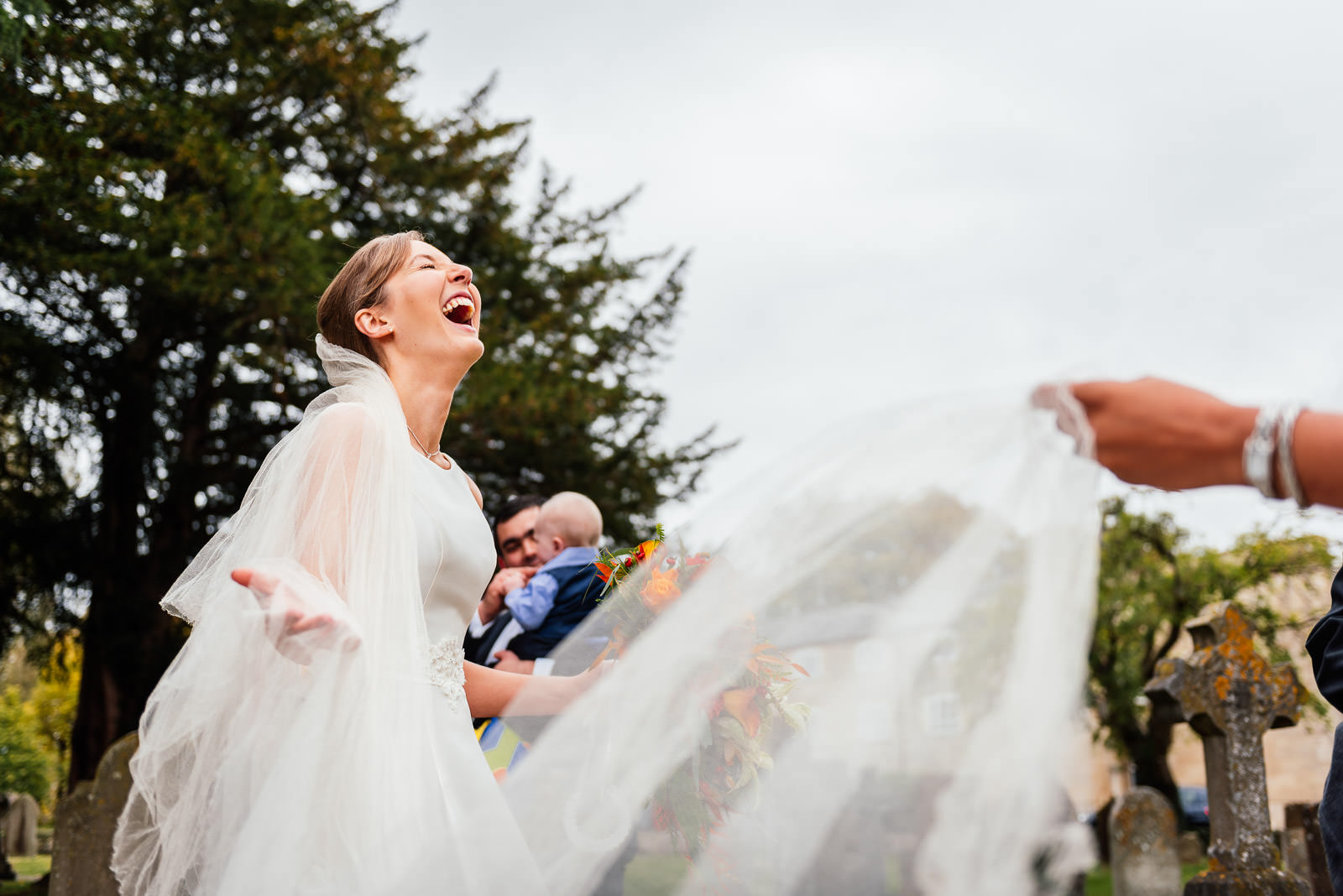 bridesmaid laughing with joy