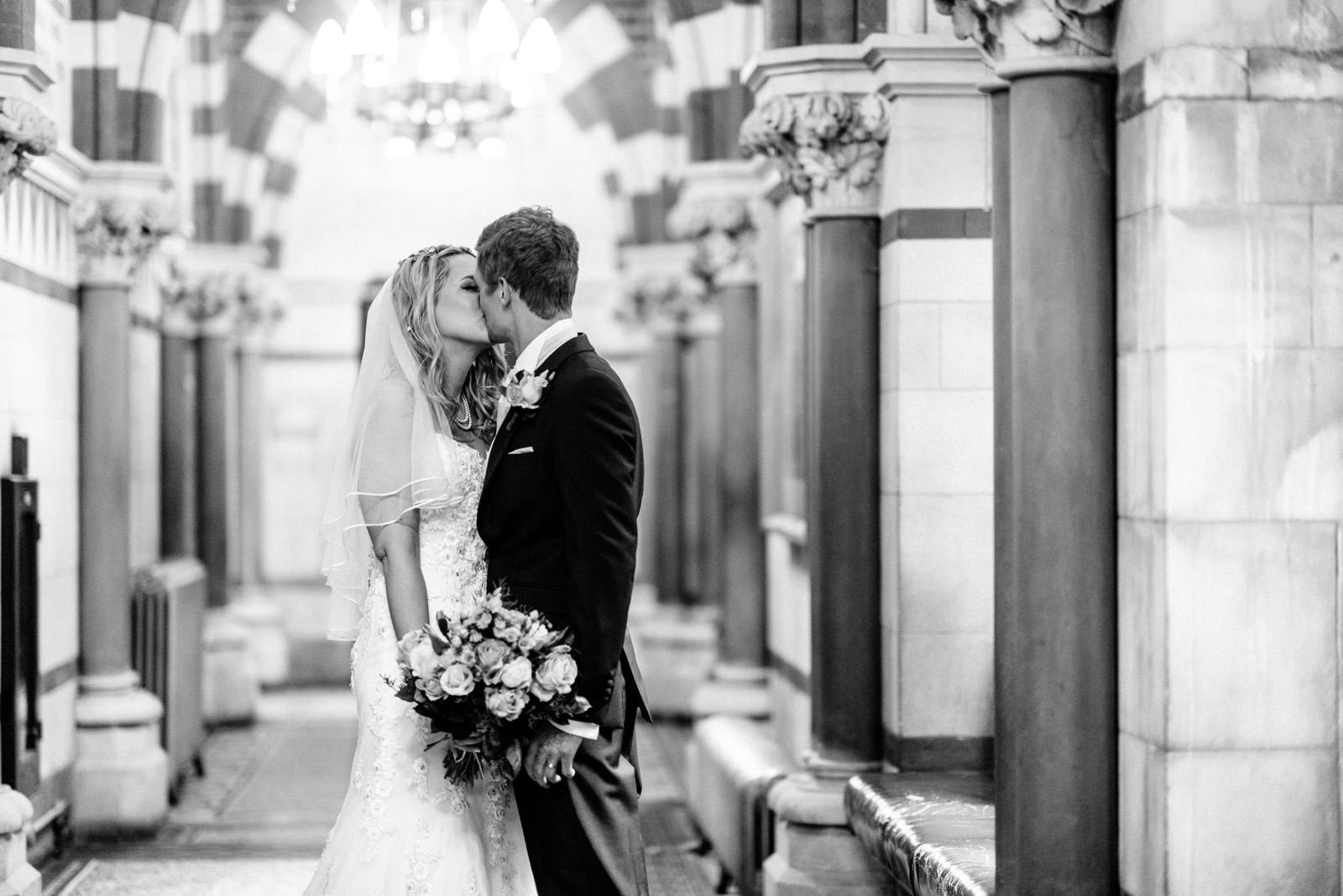 bride and groom portrait in the guildhall