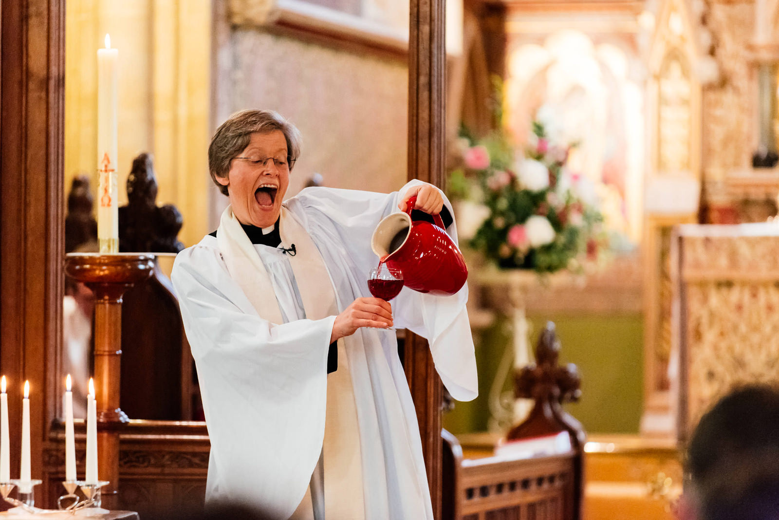 vicar changing water into wine (ribena)