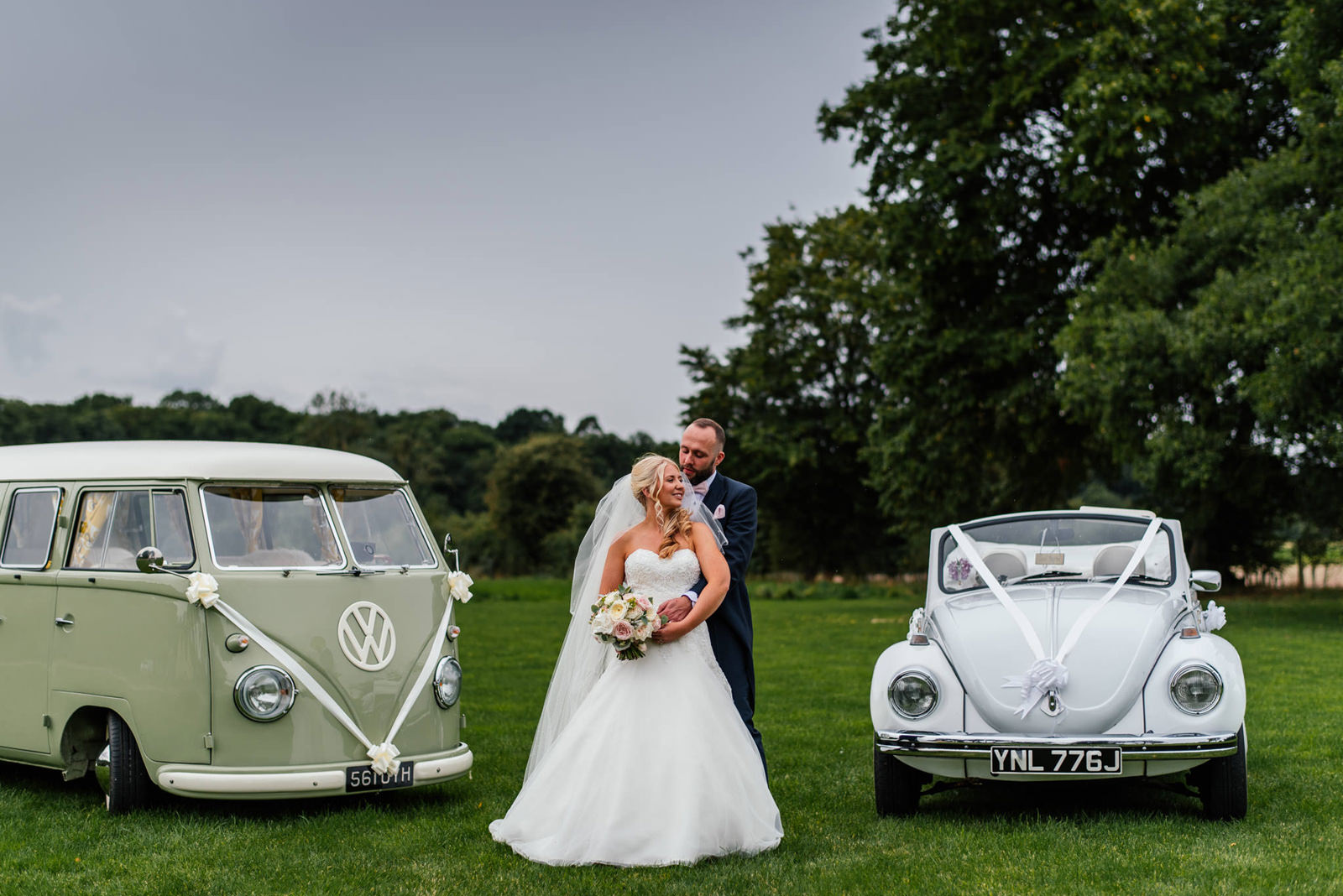 bride and groom portrait vw beetle and camper van