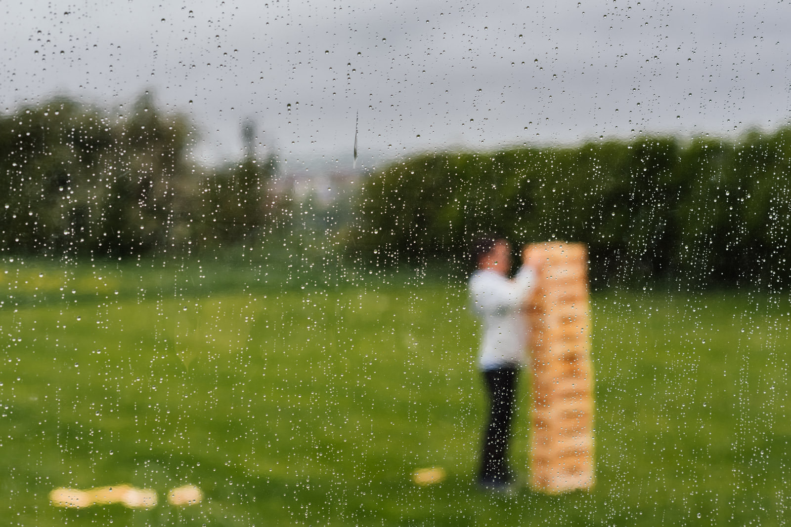 giant jenga in the rain