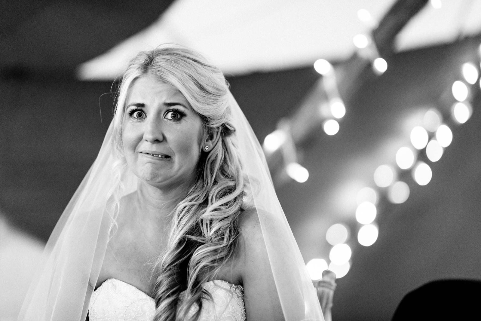 bride pulling funny face