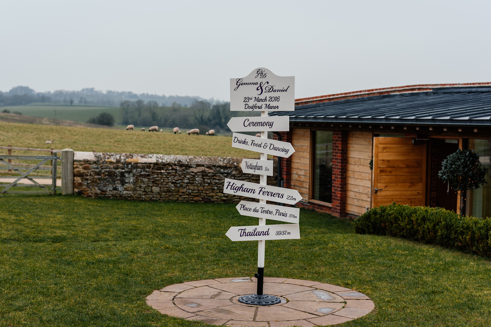 wedding signage at Dodford Manor