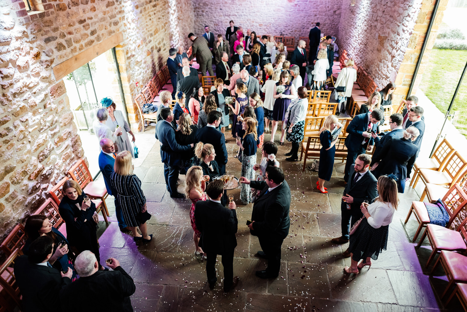 drink reception inside dodford manor barn