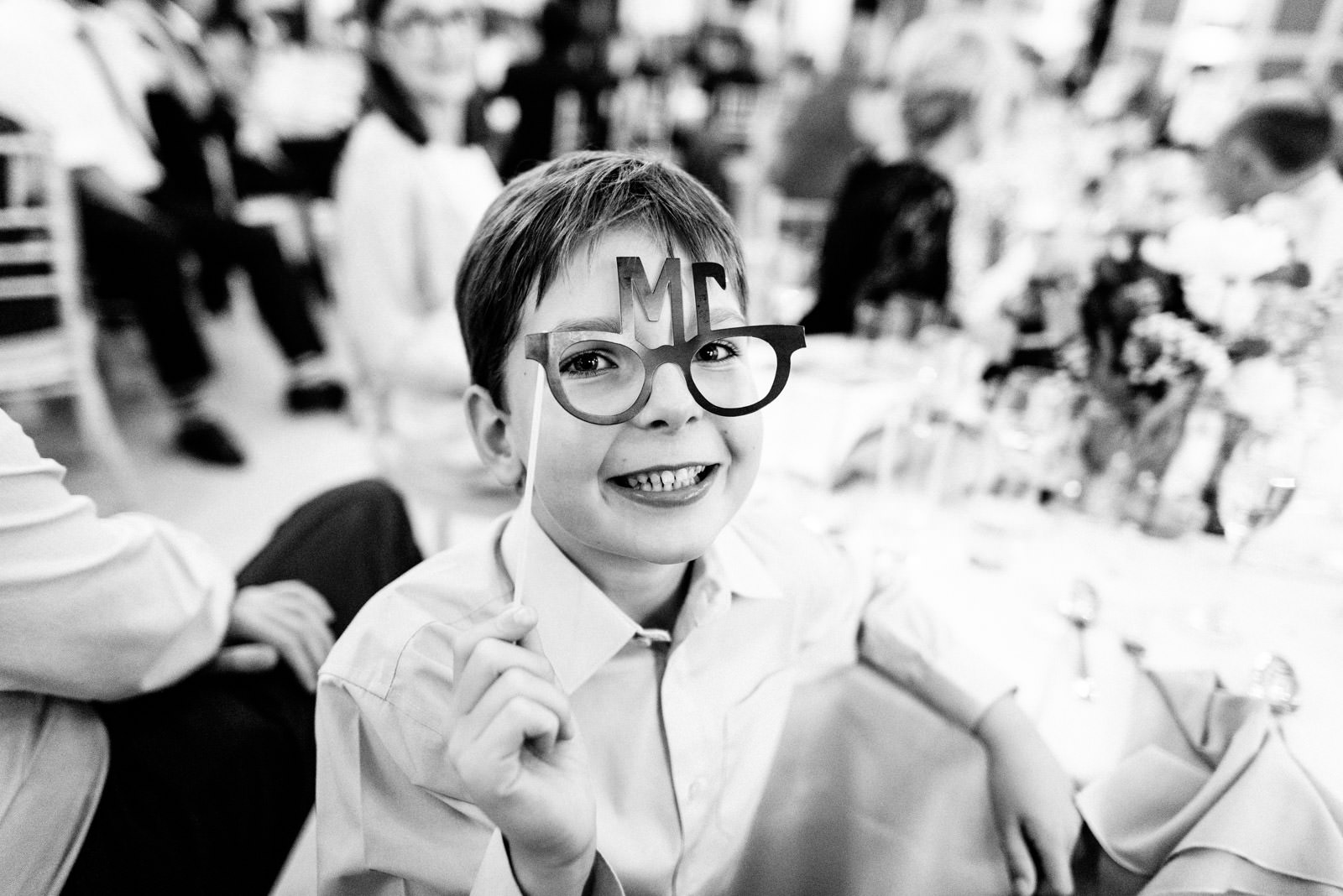 boy with toy glasses