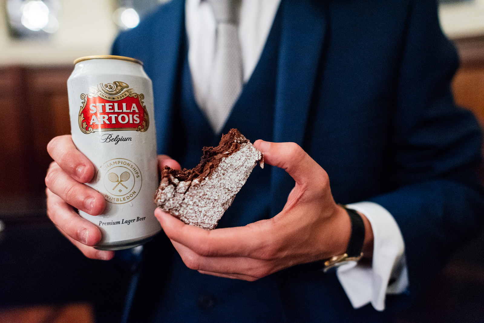 beer and wedding cake