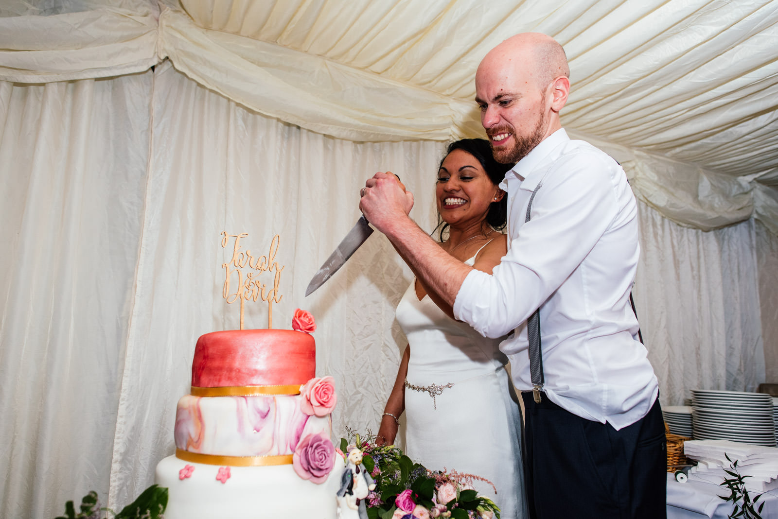 cutting of the cake like a serial killer