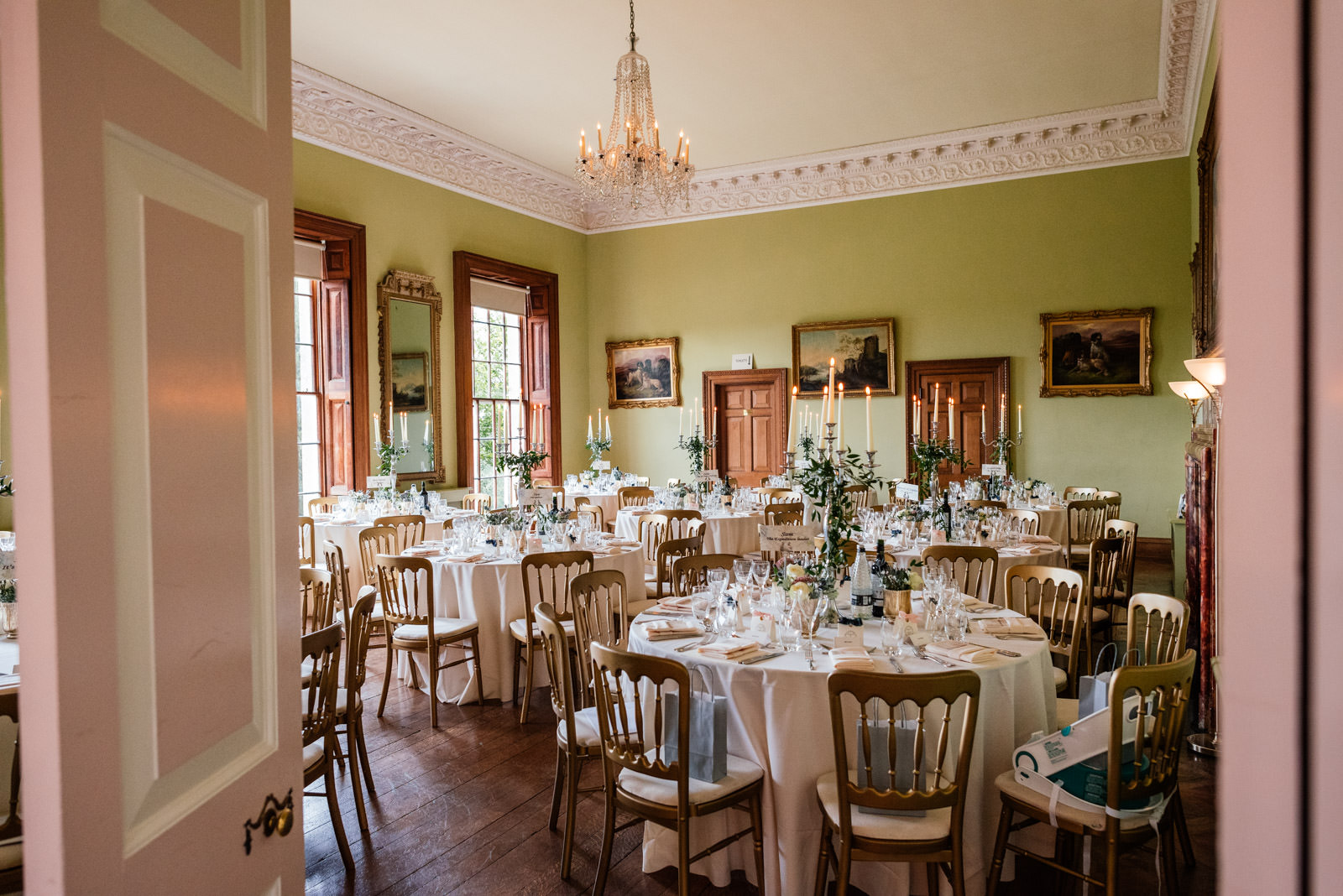 Kelmarsh hall wedding breakfast room
