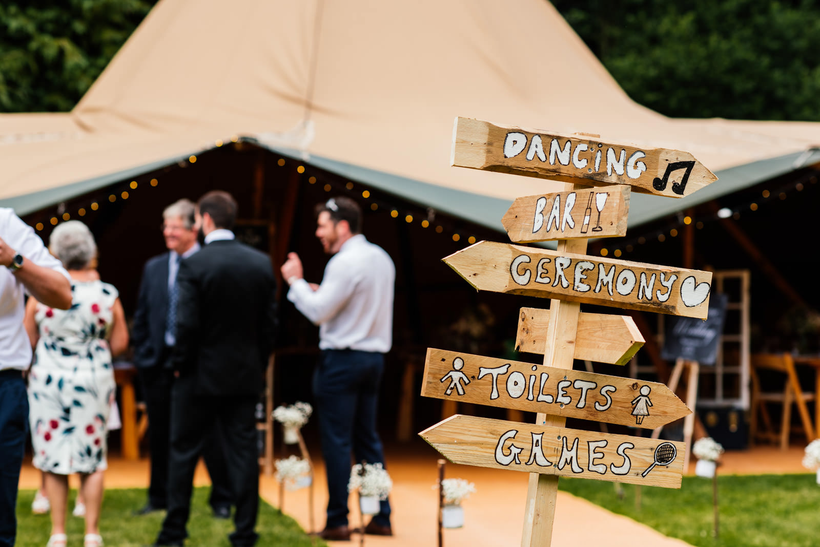 tipi wedding rustic signage