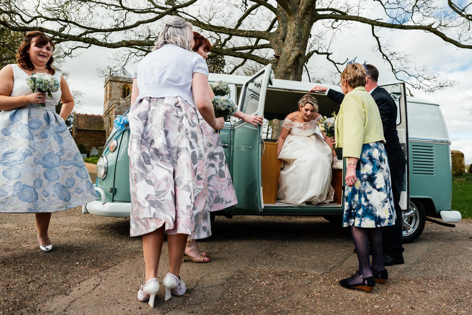 bride leaving camper van