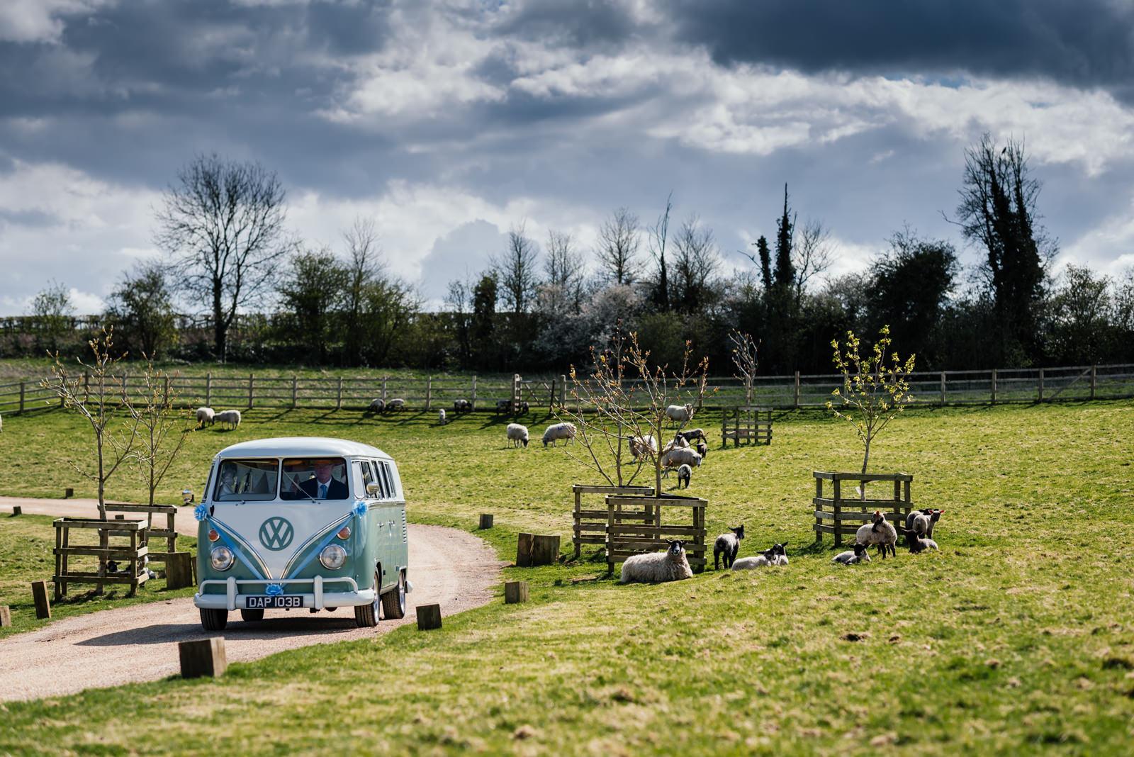 camper van arriving at dodford manor