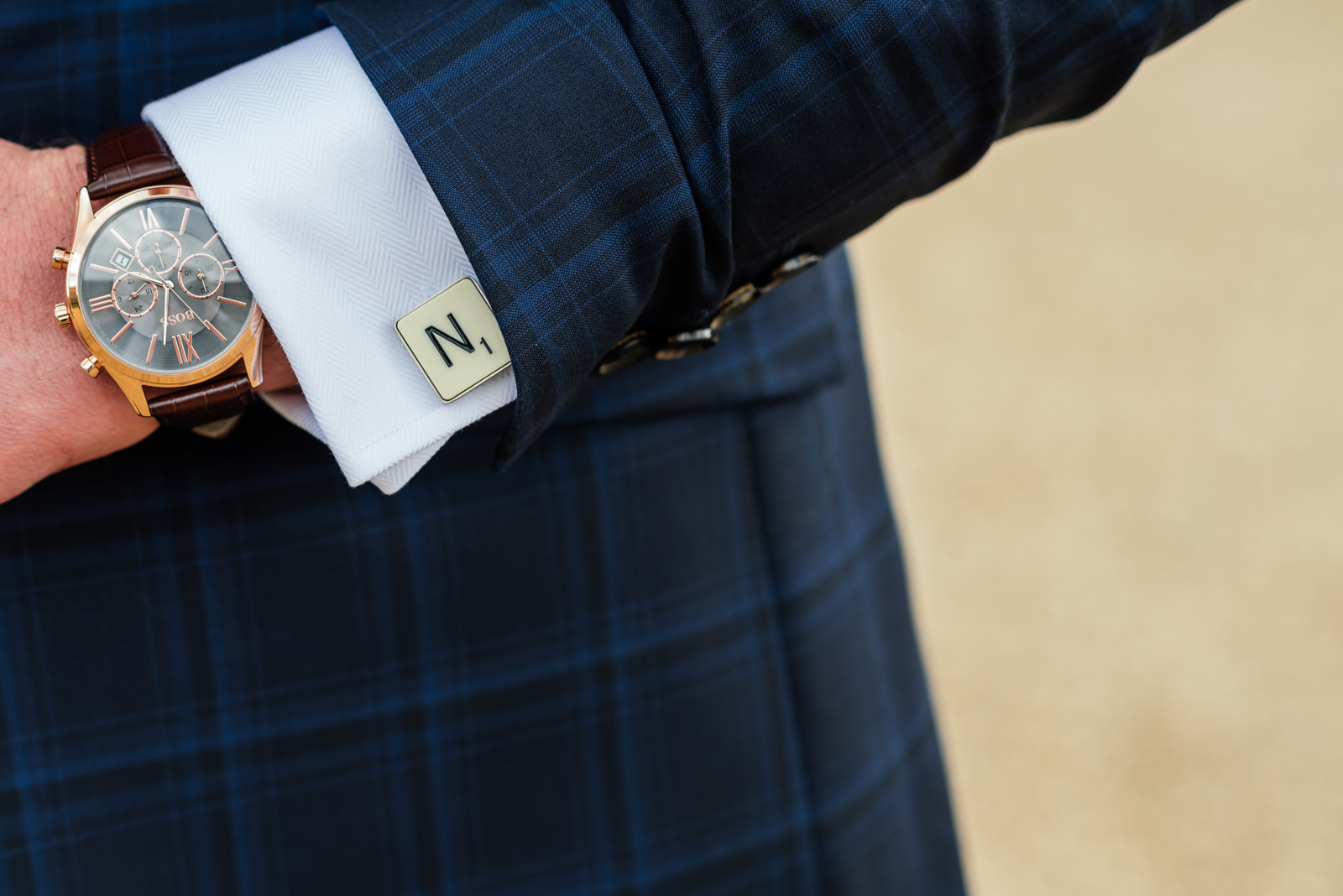 funky suit and cufflinks