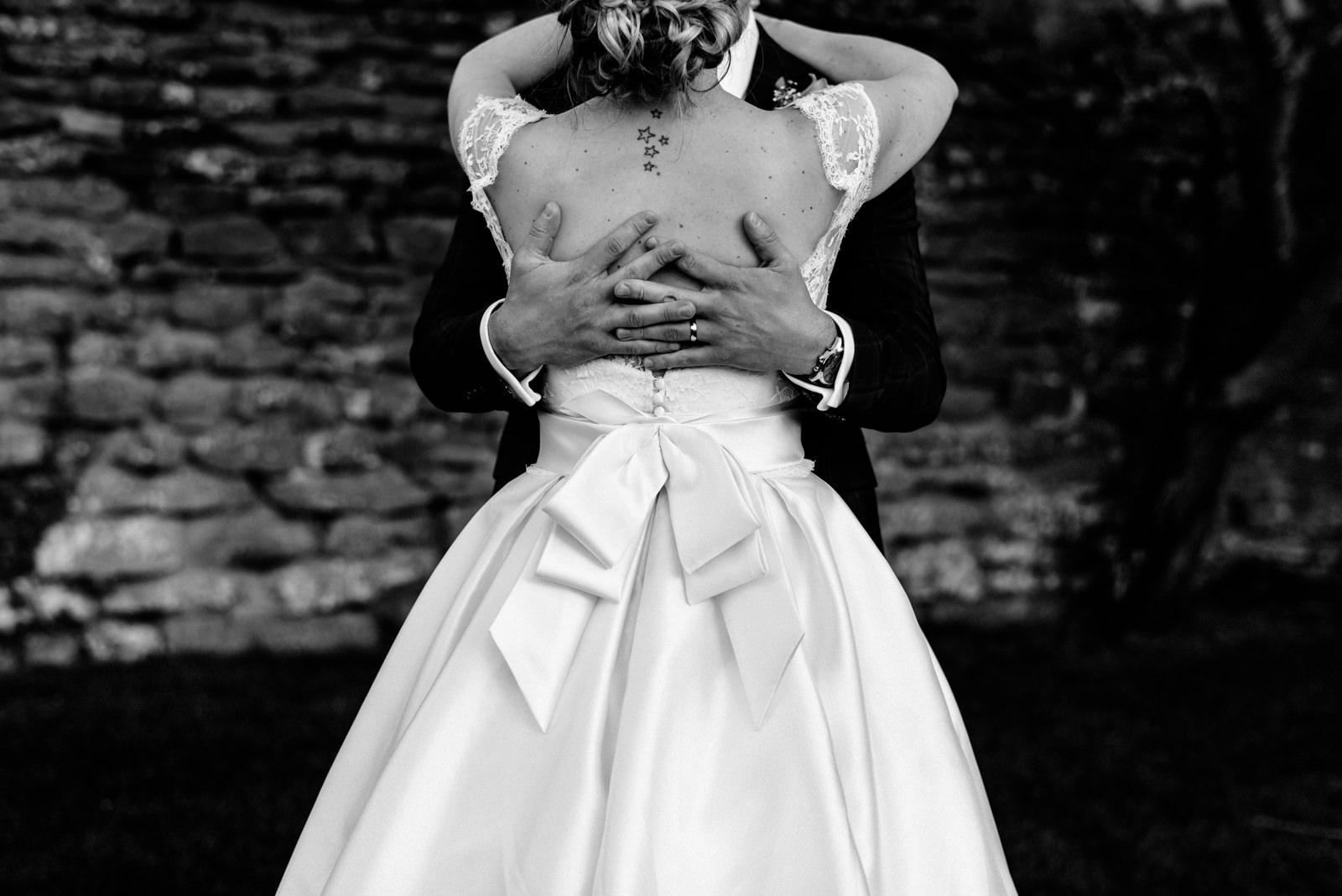 back of wedding dress bow detail