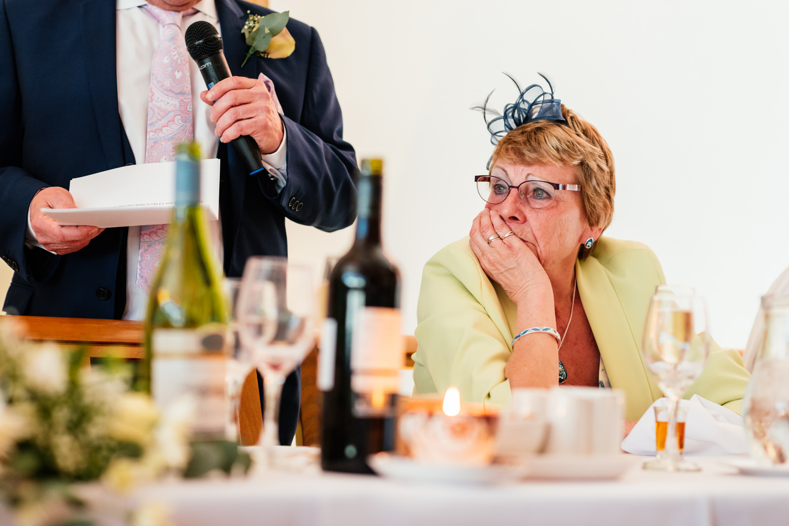 mother of the bride listening to speeches