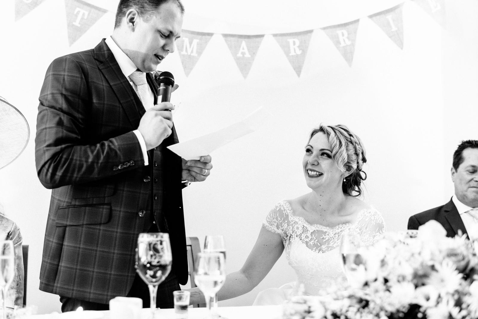 bride listening to speech