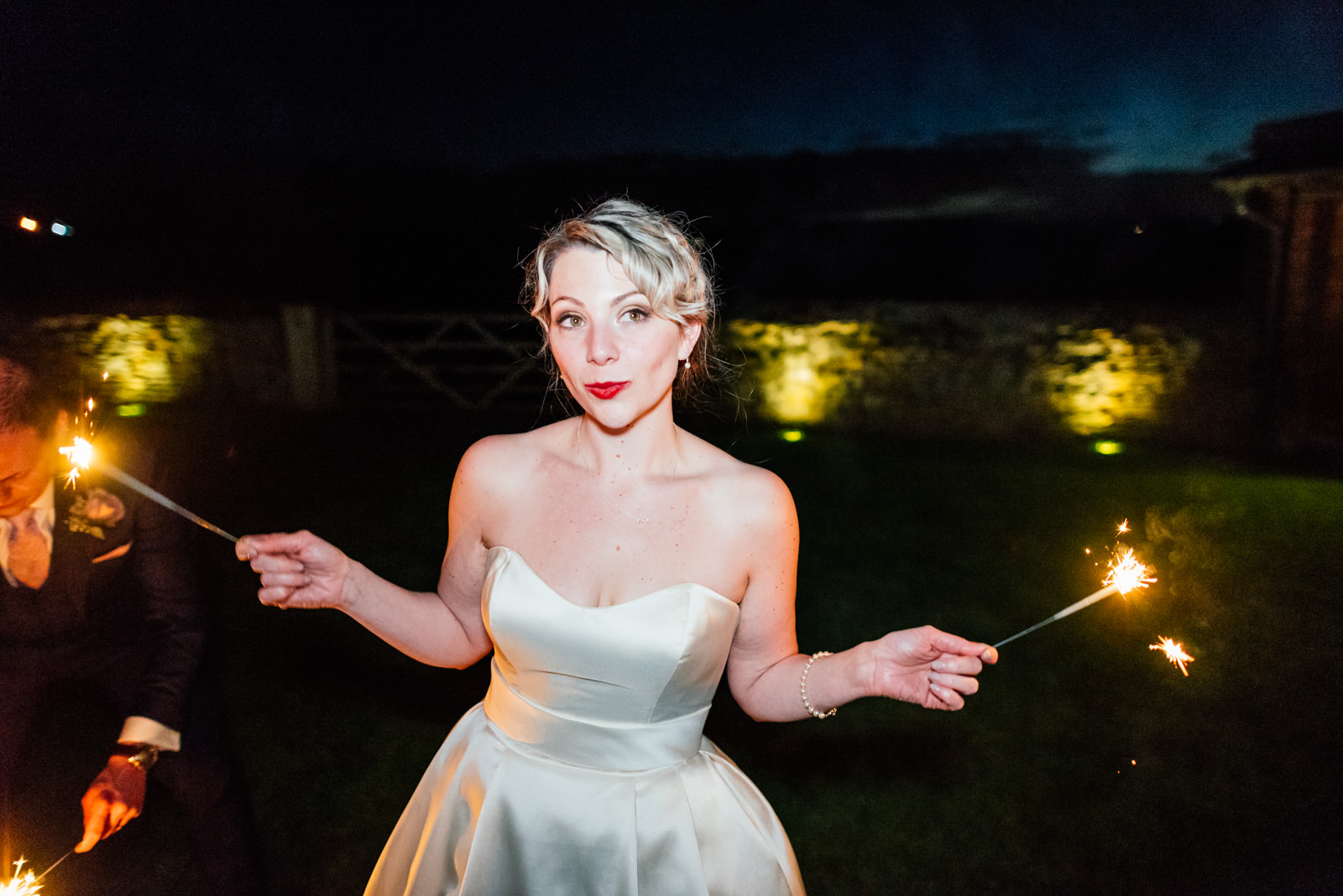 sassy bride with sparklers