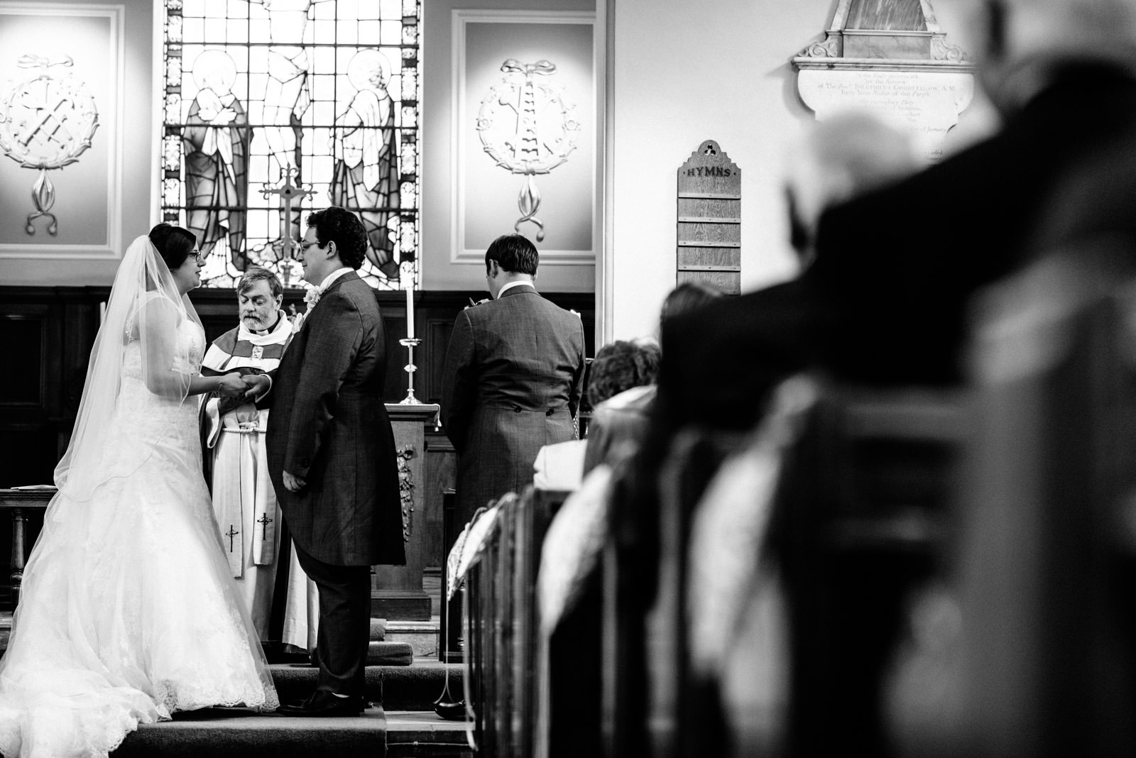 exchanging vows in the church