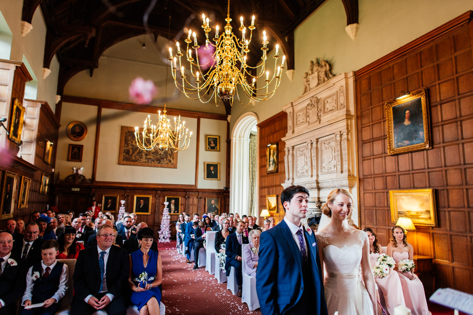 wedding ceremony in the great hall at rushton hall