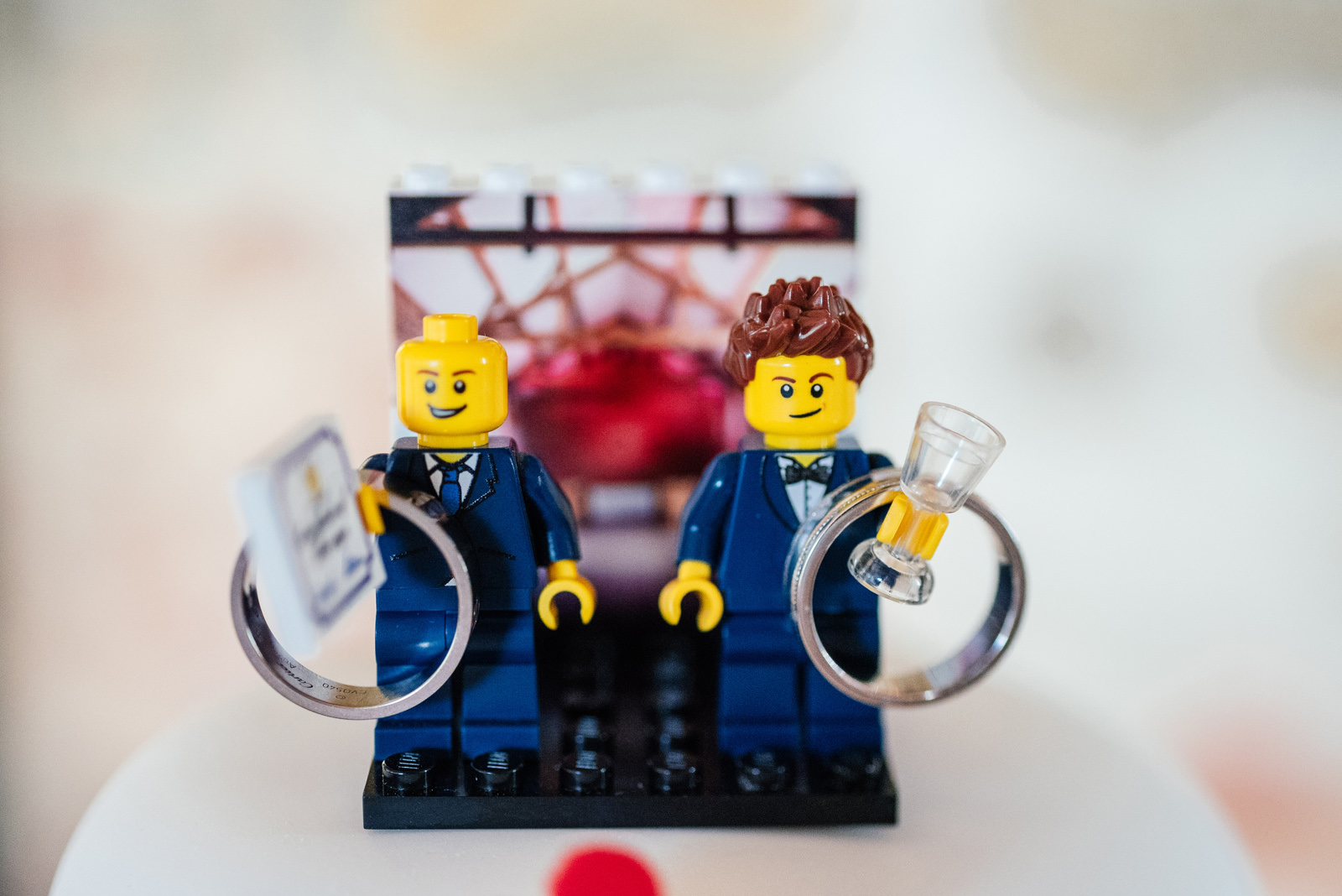 lego groomsmen with wedding rings