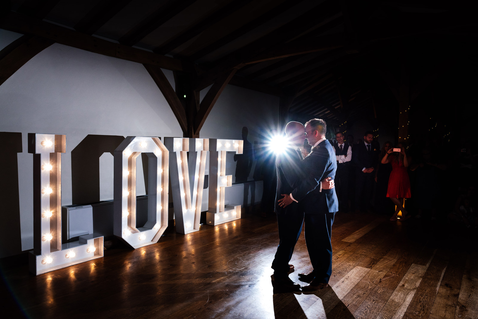 first dance with big LOVE letters