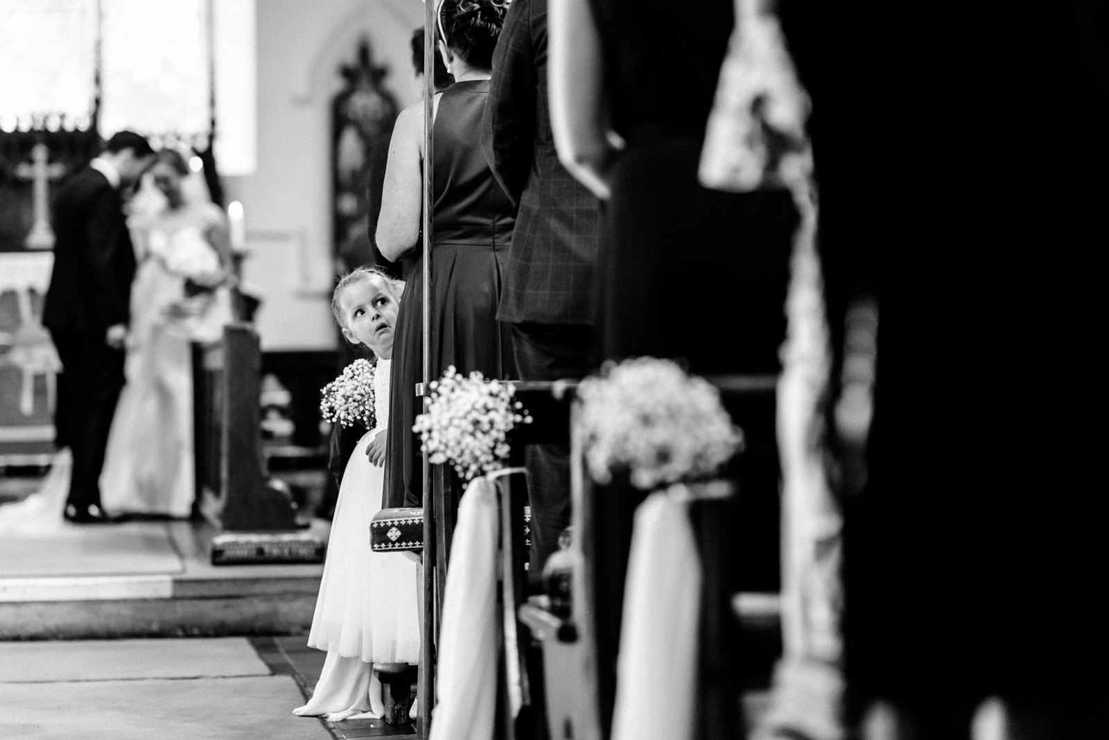 flower girl during church ceremony