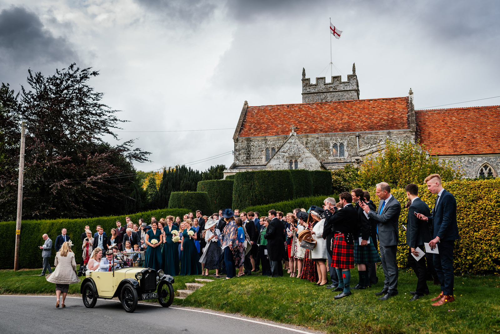 Typical English wedding scene