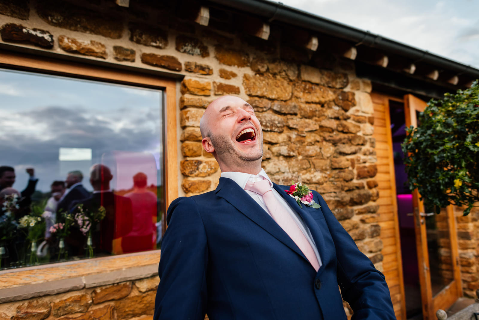 groom having a laugh