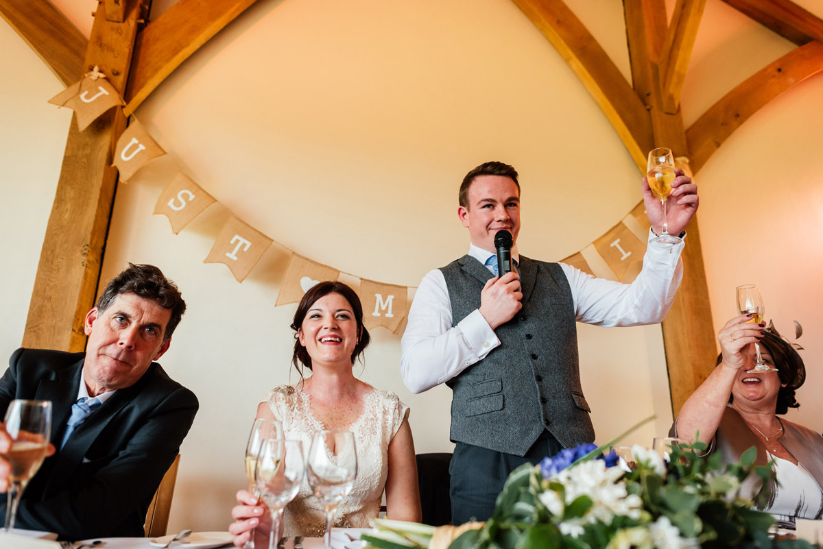 Groom toasting during the wedding speeches