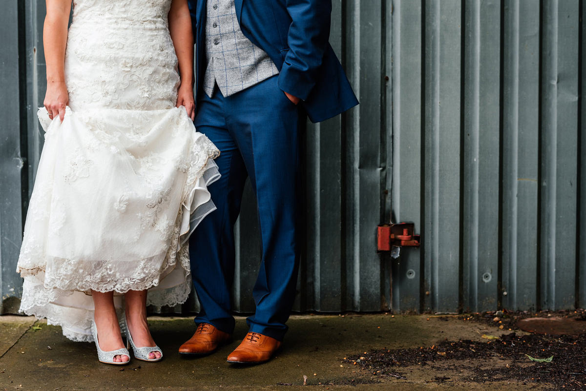 bride's shoes and grooms shoes