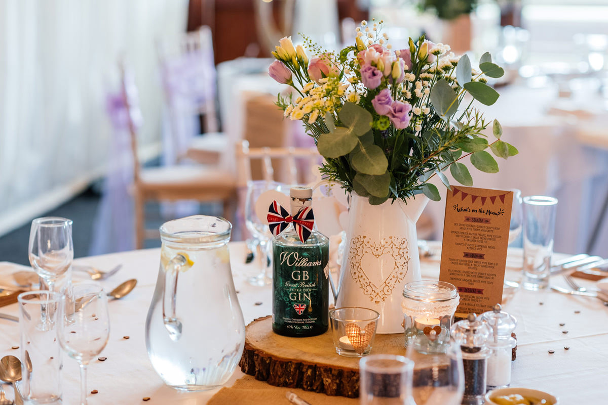 Gin bottles used as table decorations